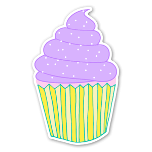 Yummy cupcake sticker, perfect to add a custom touch for a birthday party