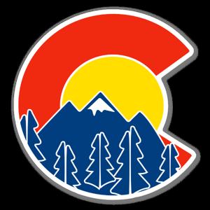 Sweet Colorado flag and mountain sticker