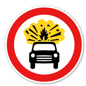 Vägskylt med bil som sprängs sticker