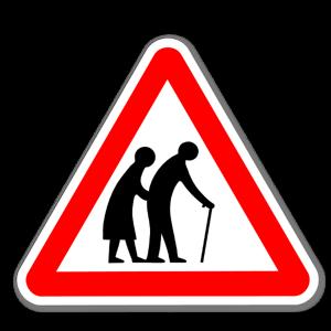 Varning gamla gubbar & tanter sticker
