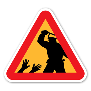 Klistermärke med varning för aggressiv polis sticker