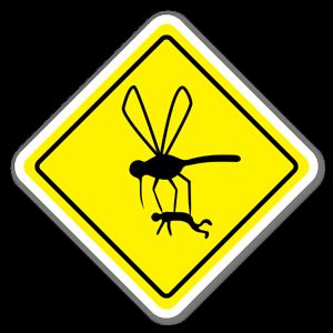 Klistermärke med varning för myggor sticker