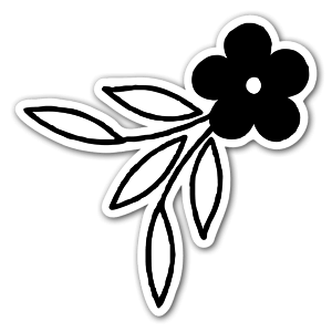 Cute black flower sticker