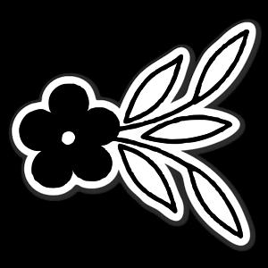 Black flower ornament  sticker