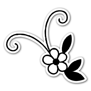 Cute black and white flower sticker