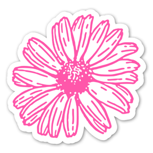 klistermärken med rosa blomma