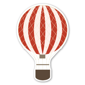 Red hot air ballon stickers