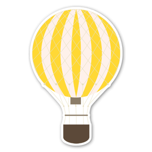 Yellow hot air ballon stickers
