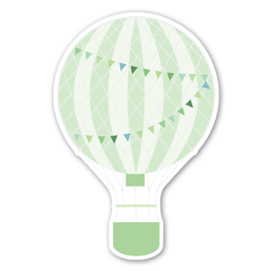 Pastel green hot air ballon stickers