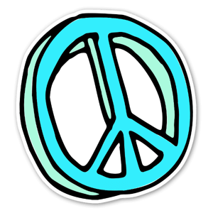 Handdrawn peace sign sticker, put is on a car or a computer, it looks great