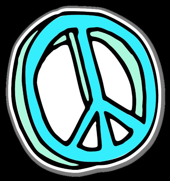 Blue Peace Sign Klistremerker