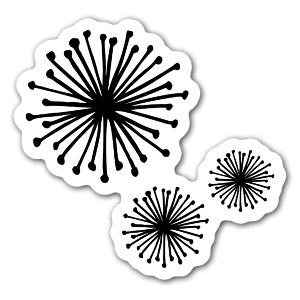 Black little pom poms for a sticker, make it custom by adding a colored background
