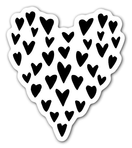 Hearts as a heart  sticker