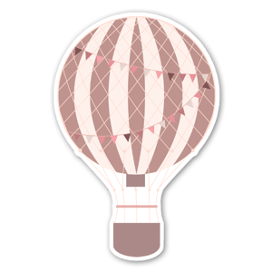 Pastel red hot air ballon stickers