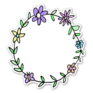 A lovely circle of flowers to add in your text for a custom sticker