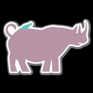 Ett fint klistermärke med en noshörning och en fågel
