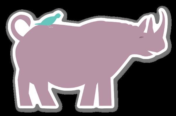 Neushoorn met vogel sticker