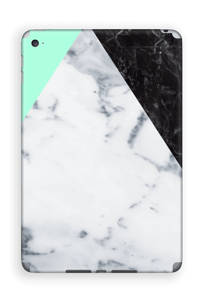 White marble, black marble and green pastel design.