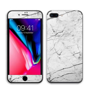 White marble skin for your IPhone 8 Plus, make it custom by adding your name or logo
