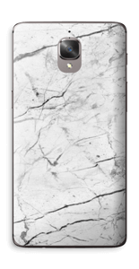 White marble skin for your OnePlus 3T, make it custom by adding your name or logo