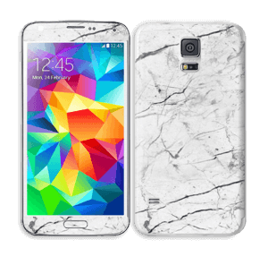 White marble skin for your Galaxy S5, make it custom by adding your name or logo