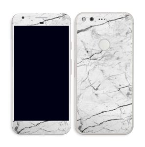 White marble skin for your Pixel, make it custom by adding your name or logo