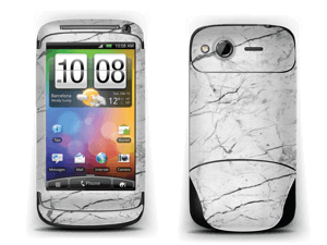 White marble skin for your Desire, make it custom by adding your name or logo
