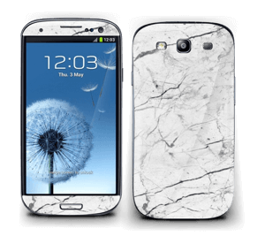 White marble skin for your Galaxy S3, make it custom by adding your name or logo