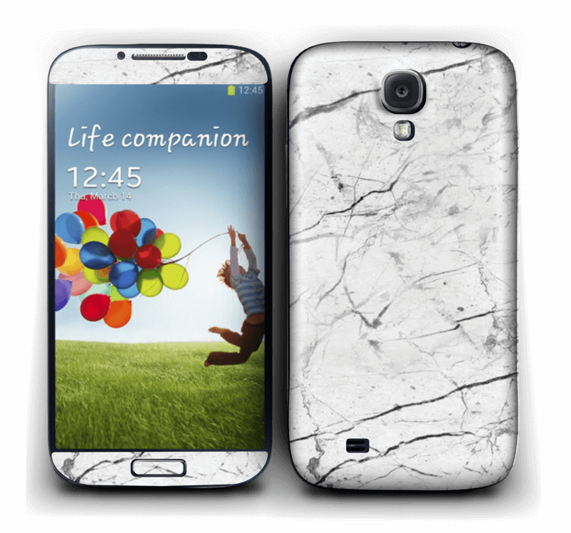 White marble skin for your Galaxy S4, make it custom by adding your name or logo