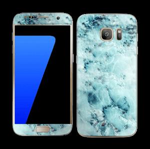 Blå iset marmor Skin Galaxy S7