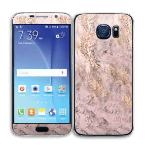 Rosa og gullmarmor Skin Galaxy S6