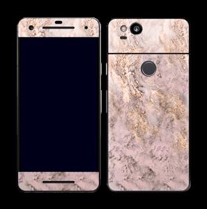 Rosa og gullmarmor Skin Pixel 2