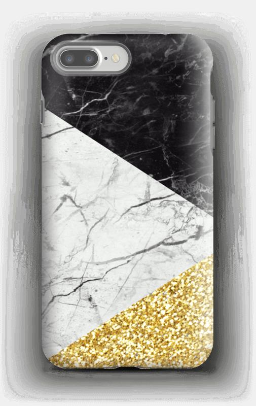 Branco, Preto e Dourado Capa IPhone 7 Plus tough