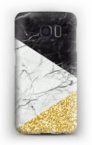 Branco, Preto e Dourado Capa Galaxy S6