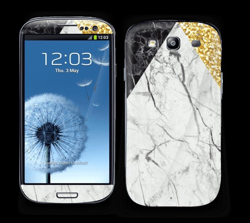 Gull, og to varianter av marmor Skin Galaxy S3