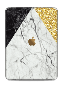 A mix of marbles and gold glitter printed on a fabulous skin!