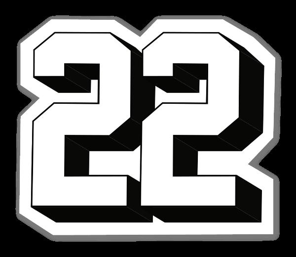 22 pegatina