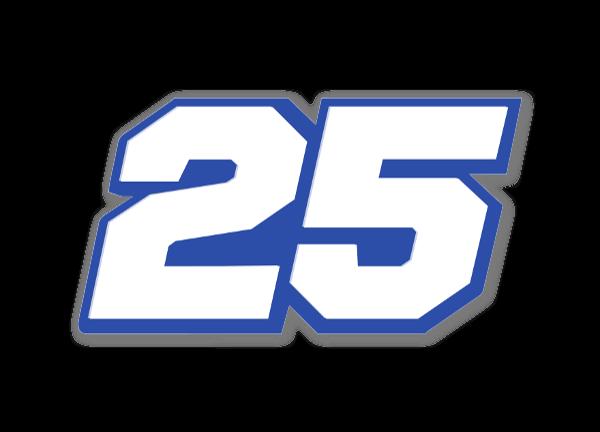 Racer - 25 white  sticker