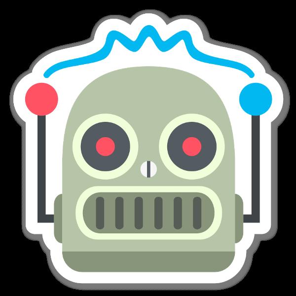 Robot face sticker