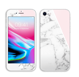 White Marble and pink pastell Skin IPhone 8
