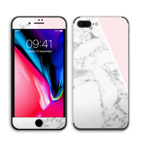 White Marble and pink pastell Skin IPhone 8 Plus