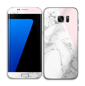 White Marble and pink pastell Skin Galaxy S7 Edge