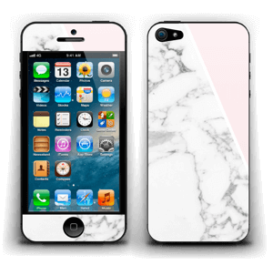 White Marble and pink pastell Skin IPhone 5