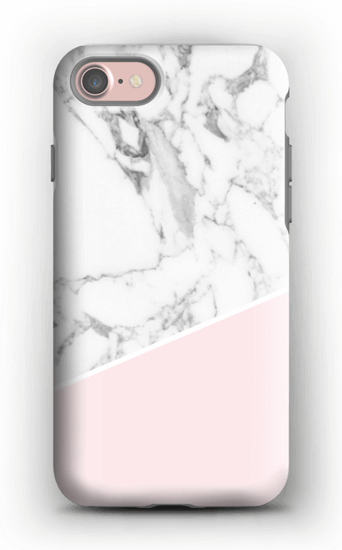 White Marble and Pink case IPhone 7 tough
