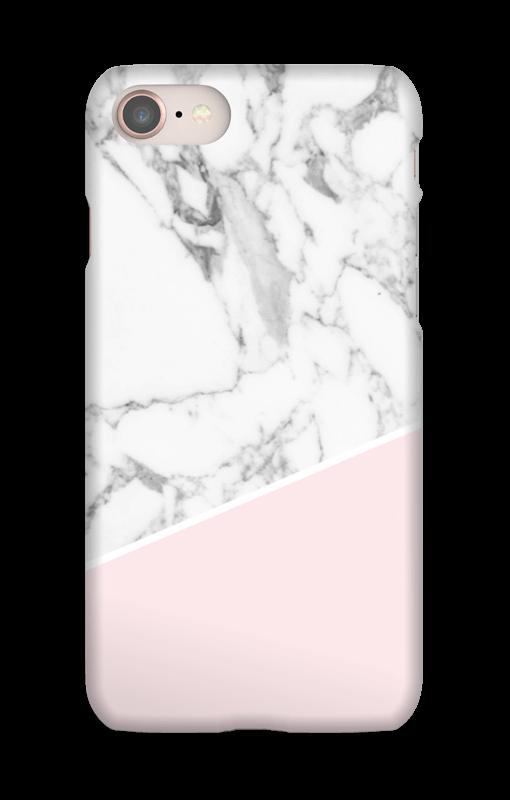 Valkoinen marmori ja pinkki kuoret IPhone 8