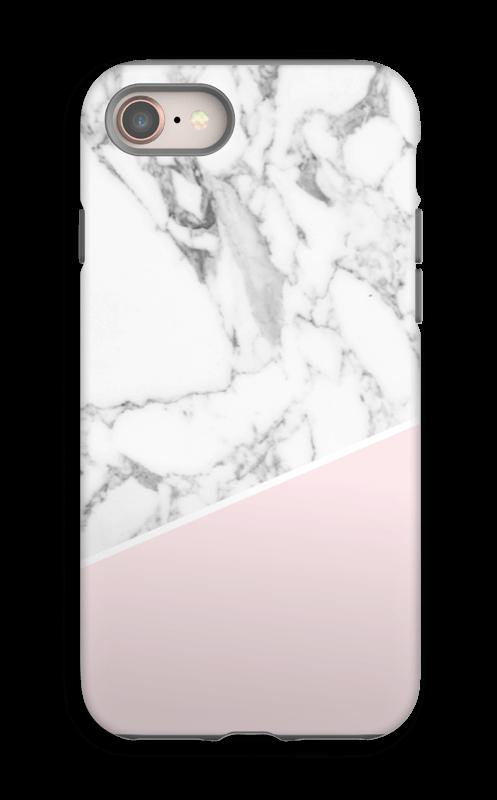 Valkoinen marmori ja pinkki kuoret IPhone 8 tough