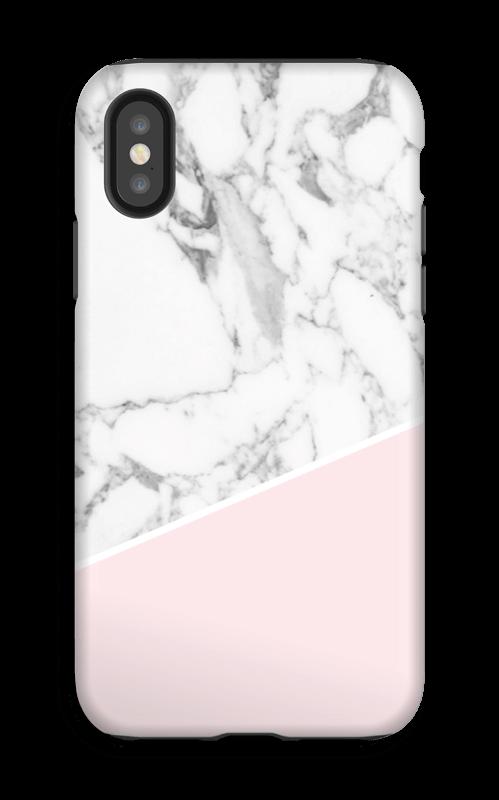 Valkoinen marmori ja pinkki kuoret IPhone X tough
