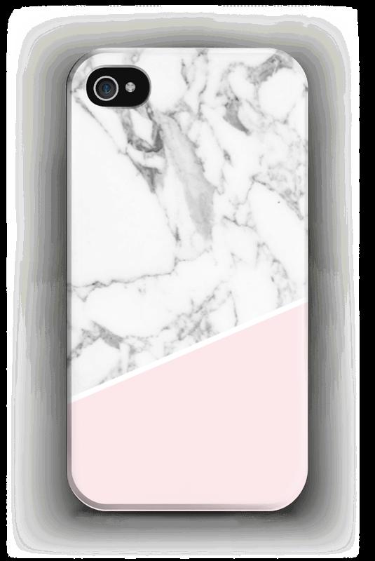 Valkonen marmori ja pinkki kuoret IPhone 4/4s