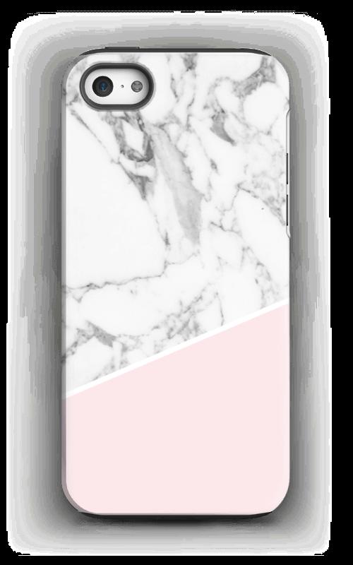 Valkonen marmori ja pinkki kuoret IPhone 5/5s tough