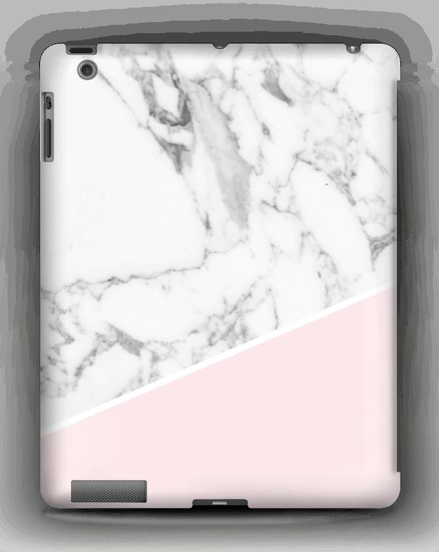 Valkoinen marmori ja pinkki kuoret IPad 4/3/2